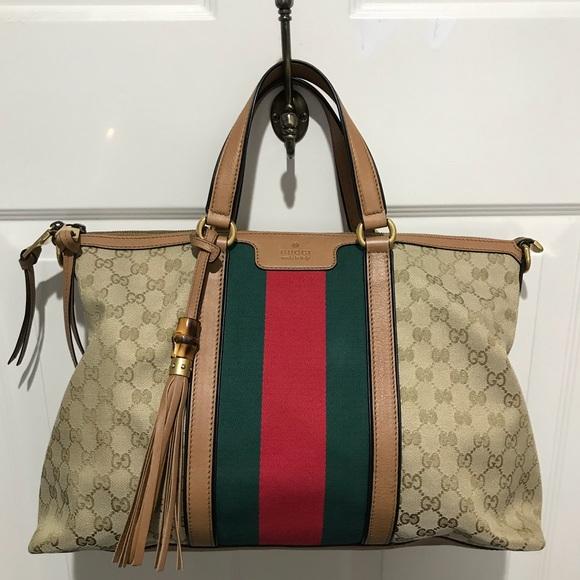 35f1f050803698 Gucci Bags | Rania Gg Italy Jacquard Tote | Poshmark